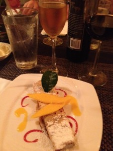 Mango crepes and White Port, White Delight.