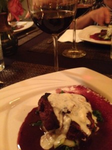 Reyes Cab, Filet mignon, Roquefort and blueberry sauce