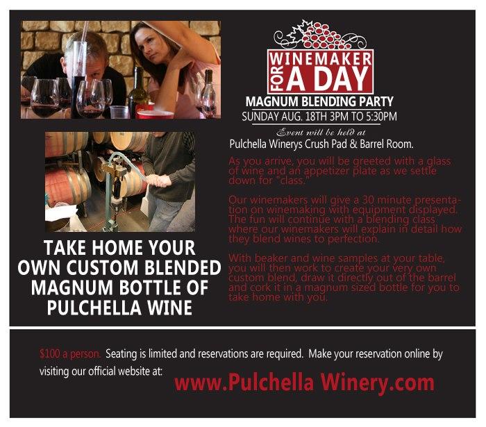 Pulchella winemaker for a day flier