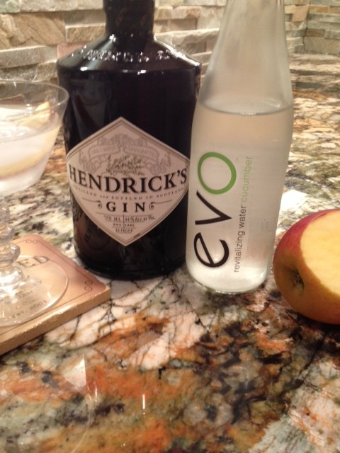 Evo Cucumber and Hendricks Gin, garnished wiht Gala apple slice