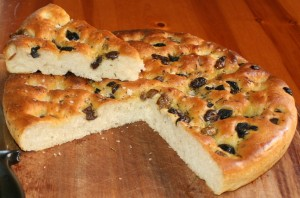 Focaccia Bread wherbs and olives