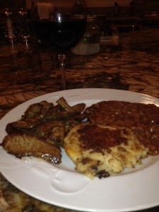 Omaha steak, baked beans, garlic mash potato cakes