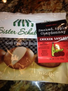 Trader Joes Smiked Apple Chardonnay chicken Sausage and Pretzel bread