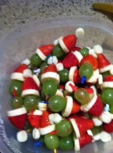 grape, banana, strawberry Santa