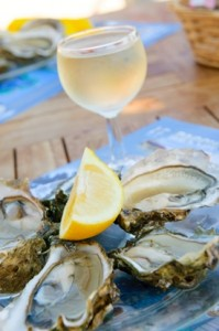 white wine and oysters