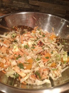 Hawaiin marinade, thin organic chicken baked, scallions, almonds, mandarin oranges, crispy chow mein noodles