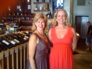 l-r Marlee Lauffer, Eve Bushman, working the Wine Affair.
