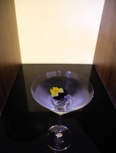Sogno di Primavera captivating and charming concoction of amethyst lavender gin, lillet blanc and creme de violette, garnished with edible violet flowers