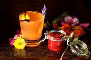 Fiori Rosa, Fiori di Pesco a stroll in the garden on the perfect spring day, this medley flirts with tongue and nose with lavender infused gin, homemade strawberry jam, fresh squeezed lime juice and rhubarb extract; garnished with edible flowers