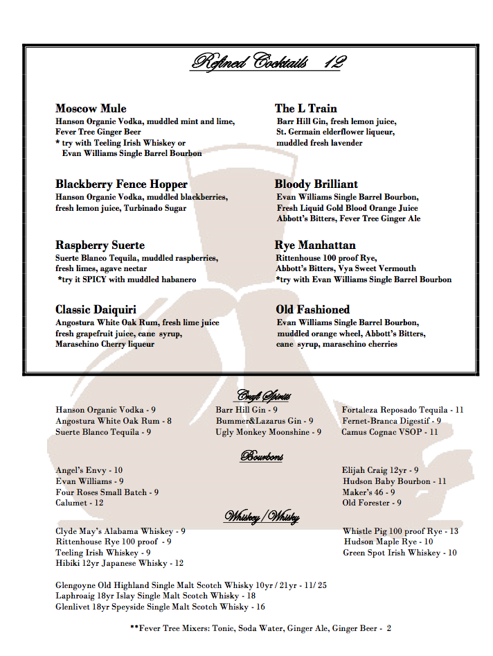 NEWHALL REFINERY cocktail menu 1