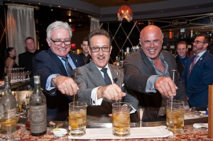 Photo 3: Legendary mixologists Dale DeGroff (L) and Tony Abou-Ganim (R) joined Salvatore Calabrese to make the world's oldest martini at Bound by Salvatore at The Cromwell. © PATRICK GRAY/ Kabik Photo Group