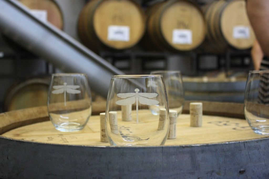 Pulchella glasses in winery, photo credit Rick Lott