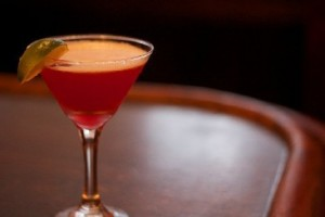 GARDEN OF ALLA: Green Mark Pineapple Infused Vodka, Cointreau, Cranberry Juice, Lime Juice, Served Up.