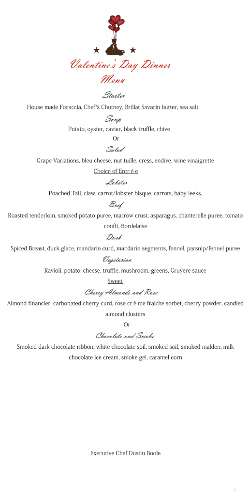 newhall refinery valentines day menu