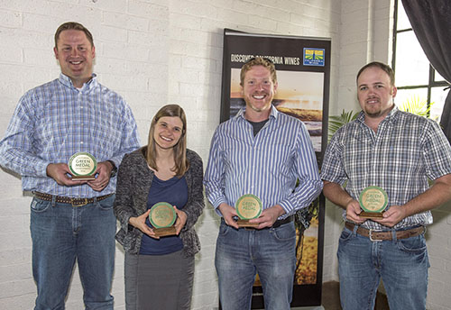 Accepting the 2016 California Green Medal Awards were: (L-R) Lucas Pope of Halter Ranch Vineyard;Katie Jackson of Jackson Family Wines; Jason Haas of Tablas Creek Vineyard; and Dirk Heuvel of McManis Family Vineyards.