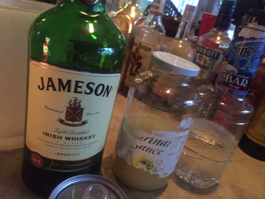 whiskey sour - 1 part fresh lemon juice, 1 part simple syrup, 2 parts Jameson or rye