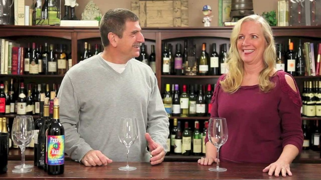 Eve and Paul filming at Wine of the Month Club.